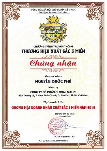 Global Malls - Giải Gương Mặt Doanh Nhân Xuất Sắc 3 Miền 2018 dành cho Chủ tịch Nguyễn Quốc Phú