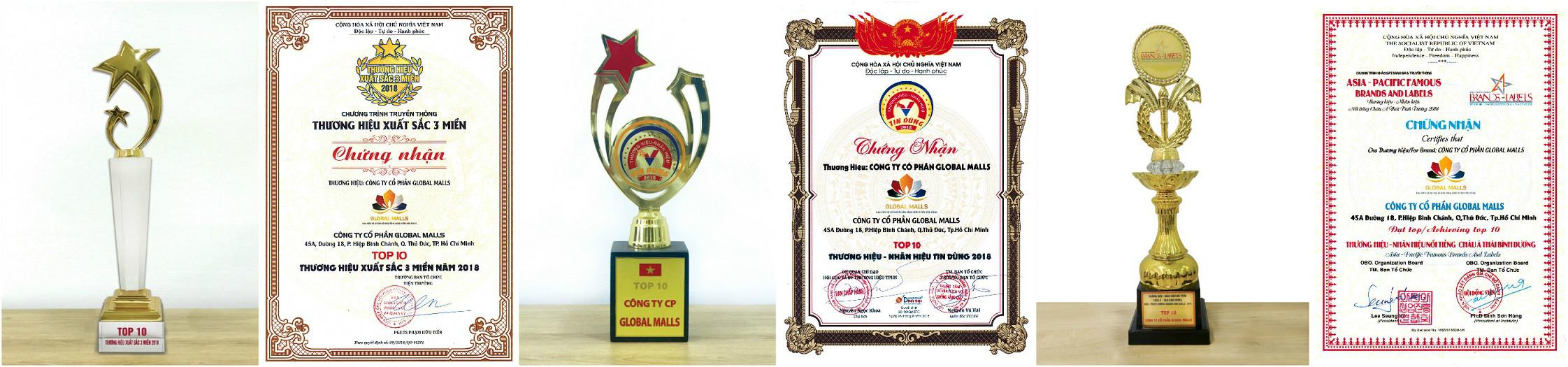 Trong năm 2018, Global Malls và Doanh nhân Nguyễn Quốc Phú đã mang về hàng loạt các danh hiệu tiêu biểu